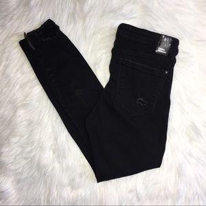 Zara High Rise Distressed Moto Skinny Jeans 8